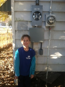 Will helped me get the service wire connected from the outside box to the inside box. Not the old meter box to the right. The city will take that away next week.